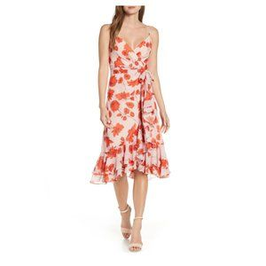 Eliza J Floral Print Faux Wrap Chiffon Dress